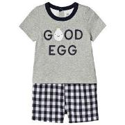 GAP Egg Romper Grey/Navy 0-3 Months